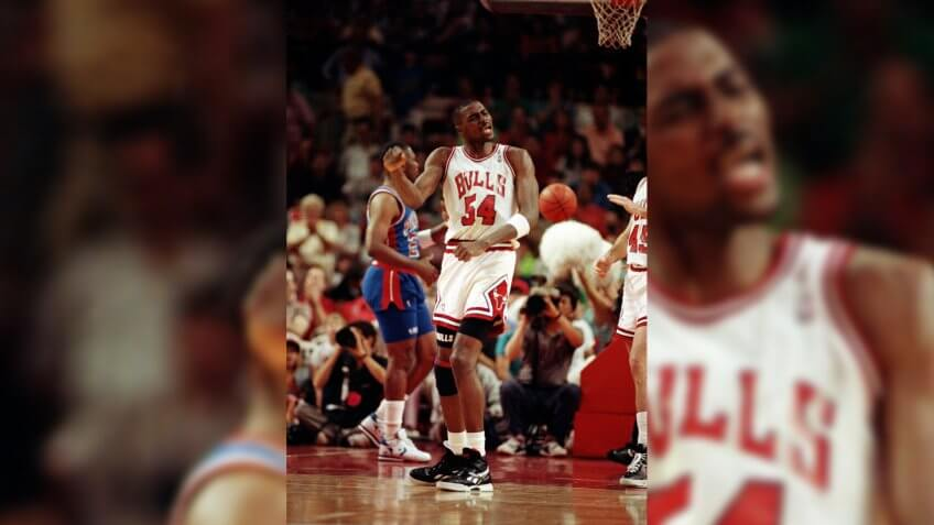 Chicago Bulls Horace Grant reacts during game 4 of the Eastern Conference playoffs against the Detroit Pistons, Chicago, IllCHICAGO BULLS VS DETROIT PISTONS, CHICAGO, USA.