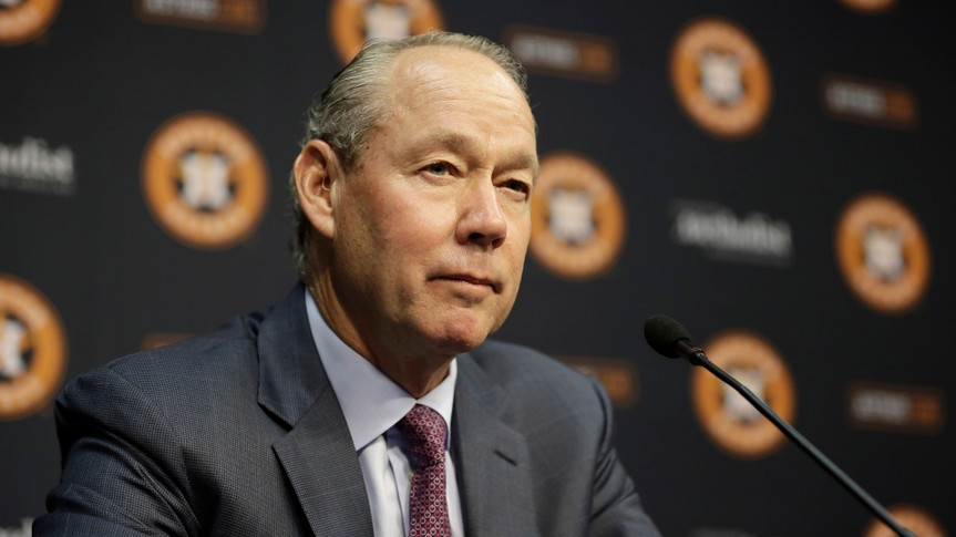 Mandatory Credit: Photo by David J Phillip/AP/Shutterstock (9719601h)Houston Astros owner Jim Crane speaks during a news conference to announce Jeff Luhnow's promotion to President of Baseball Operations and General Manager, in Houston.