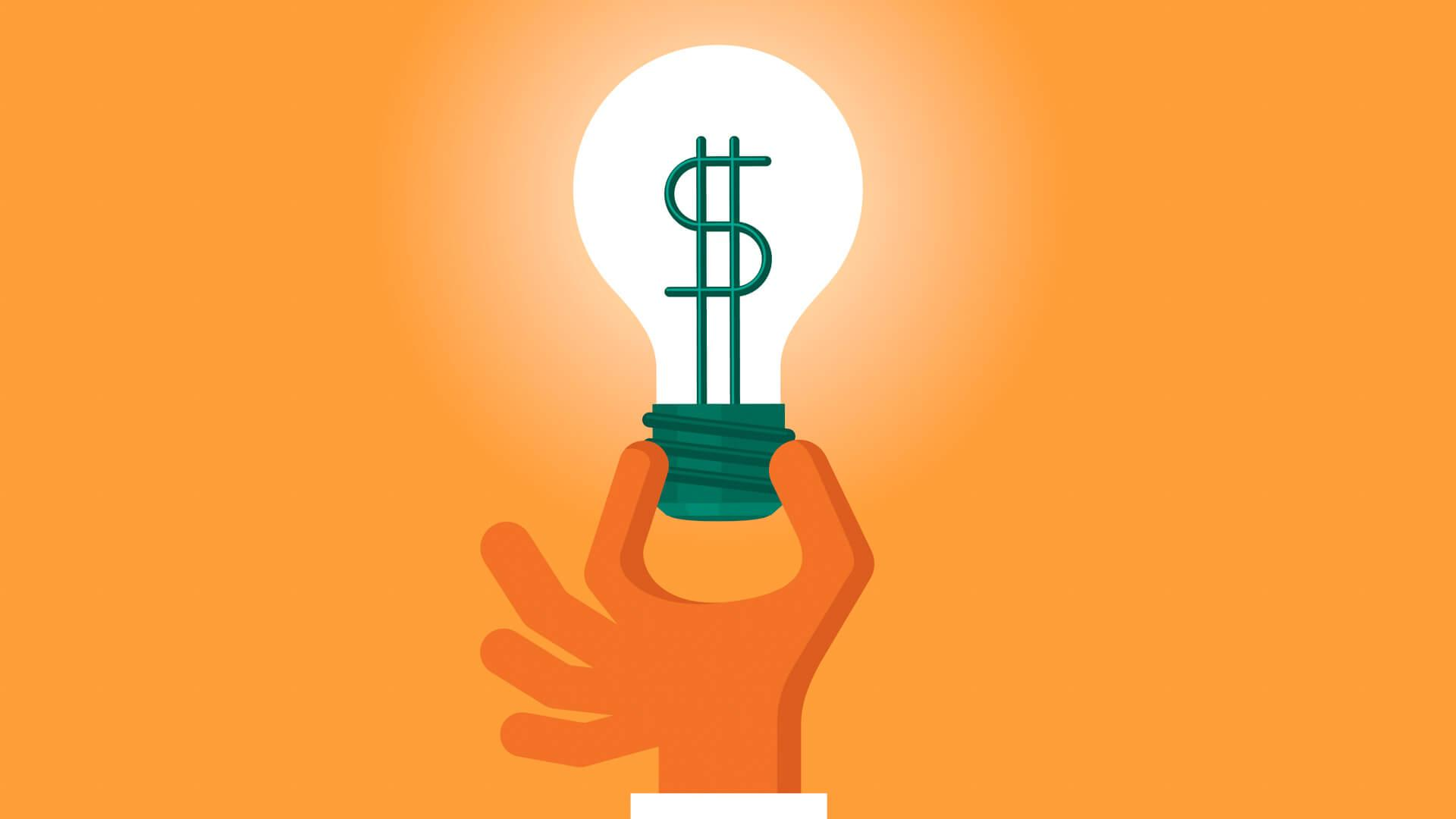 illustration of light bulb with dollar sign in center