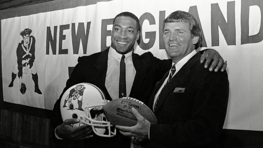 Mandatory Credit: Photo by Ted Gartland/AP/Shutterstock (6556250a)Irving Fryar, left, poses with New England Patriots coach Ron Meyer, right, during a press conference at Sullivan Stadium in Foxboro, Massachusetts, on .
