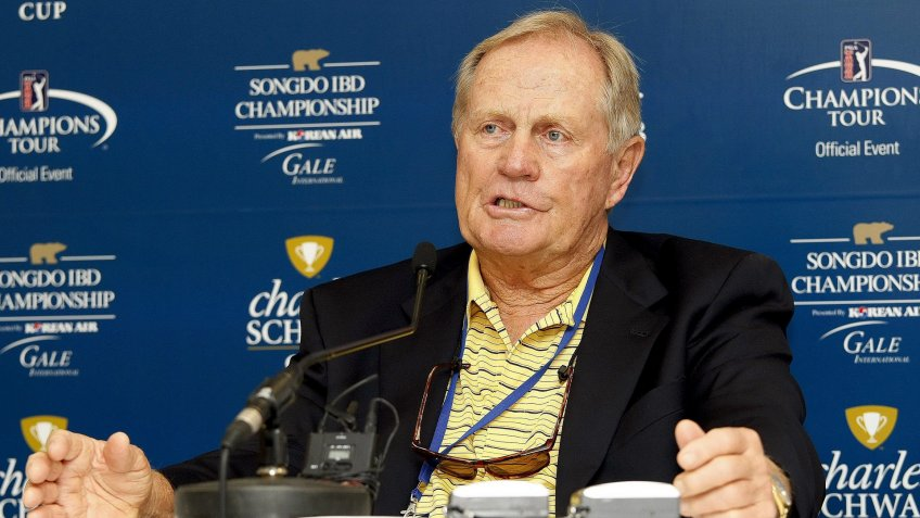 Former U S Golf Pro and Golf Course Designer Jack Nicklaus Speaks About the Tournament's Level of Difficulty at a Press Conference During the Songdo Ibd Championship at the Jack Nicklaus Golf Club on Incheon South Korea on 16 September 2011 Korea, Republic of IncheonSouth Korea Golf Songdo Ibd Championship - Sep 2011.