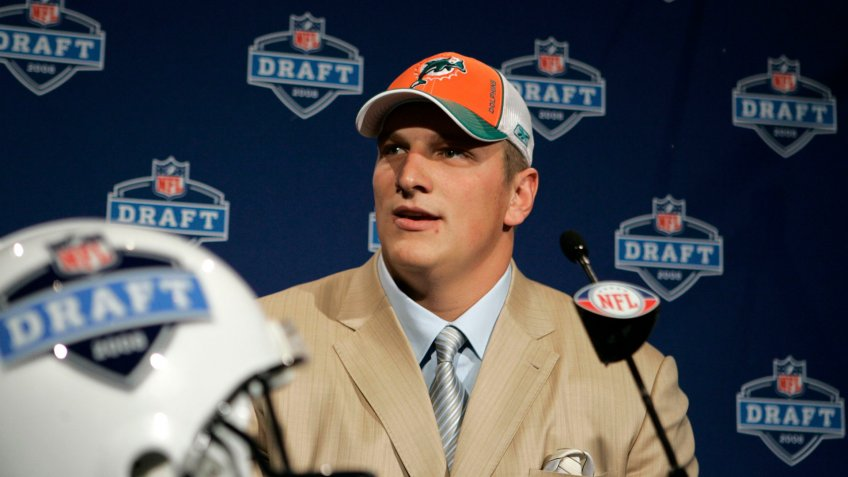 Mandatory Credit: Photo by Frank Franklin/AP/Shutterstock (6030271o)Jake Long Jake Long, a tackle from Michigan, speaks at a news conference after being selected first overall by the Miami Dolphins during first round of the 2008 NFL Draft at Radio City Music Hall in New York2008 NFL Draft, New York, USA.