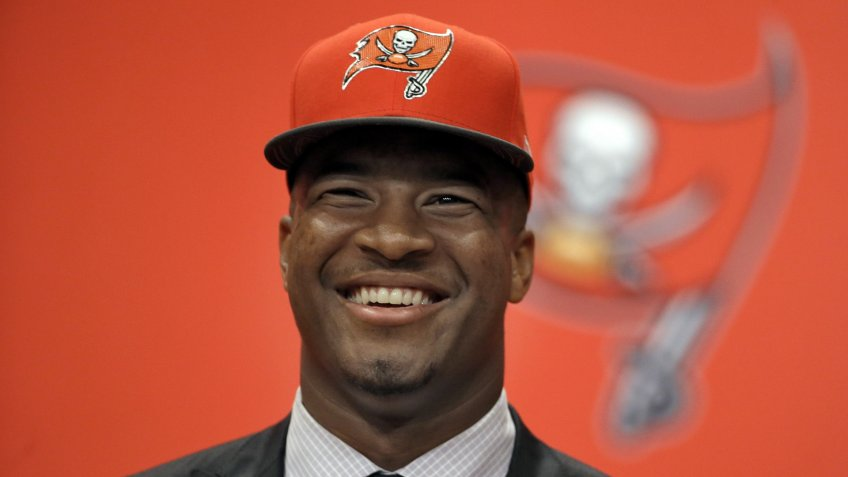 Mandatory Credit: Photo by Chris O'Meara/AP/Shutterstock (6097599m)Tampa Bay Buccaneers first-round draft pick Jameis Winston smiles during a news conference, in Tampa, Fla.