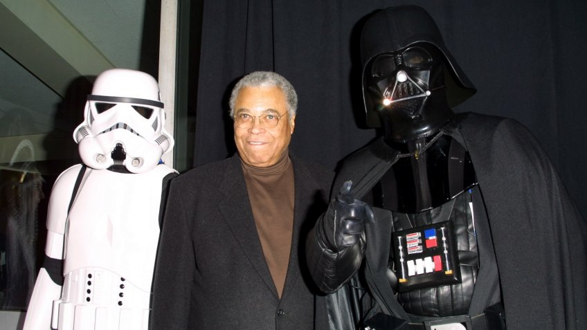 """Mandatory Credit: Photo by Matt Baron/BEI/Shutterstock (5126900au)James Earl Jones and Darth Vader at the premiere of """"Star Wars Episode II: Attack of the Clones"""", benefiting the Children's Aid Society, at the Tribeca Performing Arts Center in New York City on May 12, 2002."""