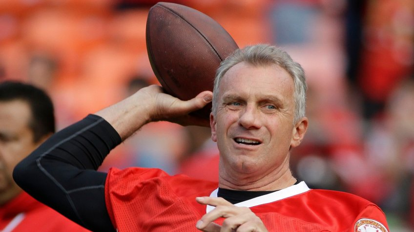 "Joe Montana Hall of Fame quarterback Joe Montana warms up before the ""Legends of Candlestick"" flag football game, in San Francisco."