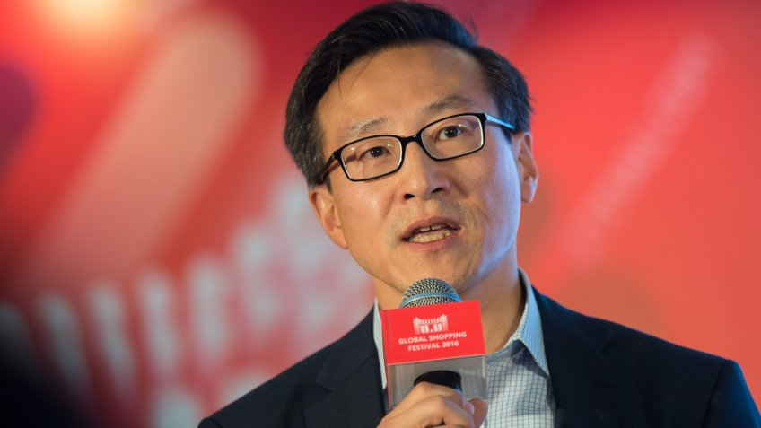 Mandatory Credit: Photo by Str/EPA/Shutterstock (8133689f)Joe Tsai Alibaba Group Vice Chairman Speaks During a Press Conference Ahead of the 2016 Alibaba Group 11 11 Global Shopping Festival in Shenzhen Guangdong Province China 10 November 2016 Starting From Midnight and Lasting Throughout the Day on 11 November Also Known As Singles' Day Alibaba Group Holds the World's Largest 24-hour Online Shopping Event China ShenzhenChina Alibaba Shopping Festival - Nov 2016Joe Tsai, Alibaba group vice chairman, speaks during a press conference ahead of the 2016 Alibaba Group 11.