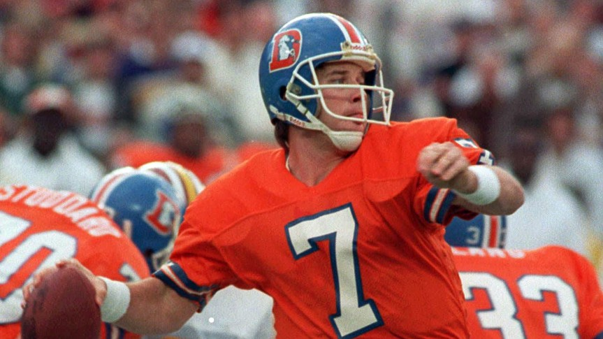 John Elway Denver Broncos quarterback John Elway winds up to let go of a 56-yard touchdown pass to wide receiver Ricky Nattiel in the first quarter of Super Bowl XXII against the Washington Redskins in San Diego, Calif.