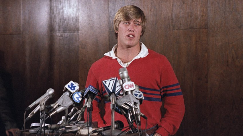 Mandatory Credit: Photo by Paul C Strong/AP/Shutterstock (6558329a)John Elway John Elway an athlete, he play's both football and baseball at Stanford U.
