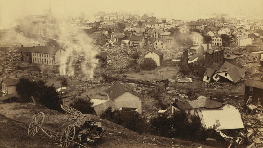 General view of Johnstown from high ground after the flood of May 31st, 1889.