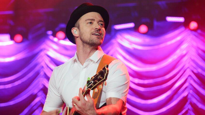 RIO DE JANEIRO, BRAZIL - SEPTEMBER 15: Singer Justin Timberlake performs during the Rock in Rio Festival in Rio de Janeiro.