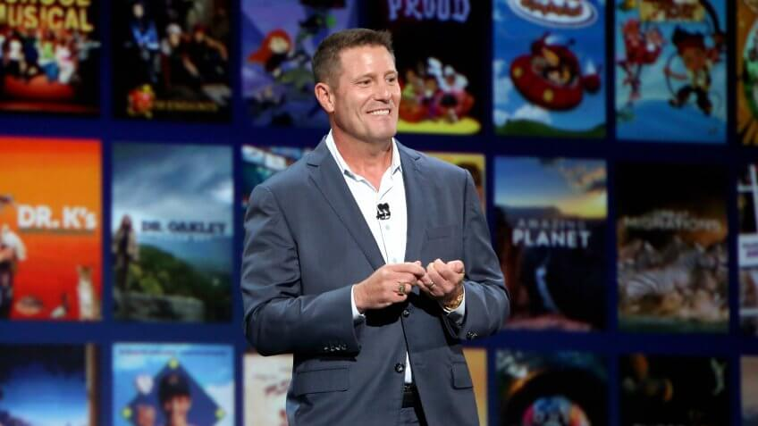 ANAHEIM, CALIFORNIA - AUGUST 23: Chairman of Direct-to-Consumer & International division of The Walt Disney Company Kevin Mayer took part today in the Disney+ Showcase at Disney's D23 EXPO 2019 in Anaheim, Calif.