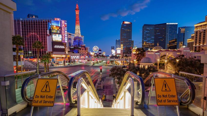 Las Vegas, MAR 23, 2020 - Dusk special lockdown cityscape of the famous Strip.