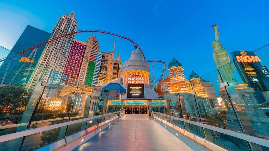 Las Vegas, MAR 25, 2020 - Dusk special lockdown cityscape of the famous Strip and New York New York Hotel & Casino.
