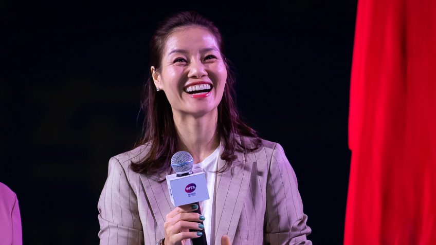 Li Na of China celebrating her induction into the Tennis Hall of Fame at the 2019 Dongfeng Motor Wuhan Open Premier 5 tennis tournamentWTA Wuhan Open tennis tournament, China - 22 Sep 2019.
