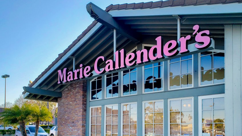 West Covina, California/United States - 03/16/2020: A store front sign for the restaurant chain known as Marie Callender's Restaurant and Bakery.