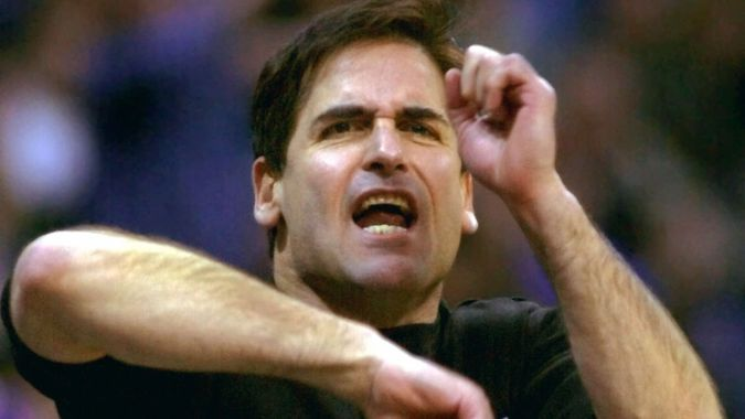 Mandatory Credit: Photo by Bill Janscha/AP/Shutterstock (6470243a)CUBAN Dallas Mavericks owner Mark Cuban yells and signals a traveling penalty during the fourth quarter of the Kings' 116-105 win in DallasKINGS MAVERICKS, DALLAS, USA.