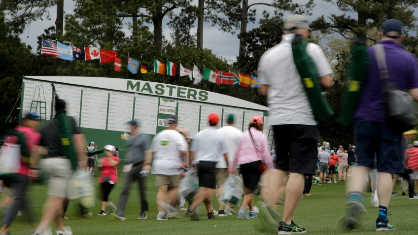 Fans leave the course after play was suspended due to a weather warning during a practice round for the Masters golf tournament, in Augusta, GaMasters Golf, Augusta, USA - 08 Apr 2019.