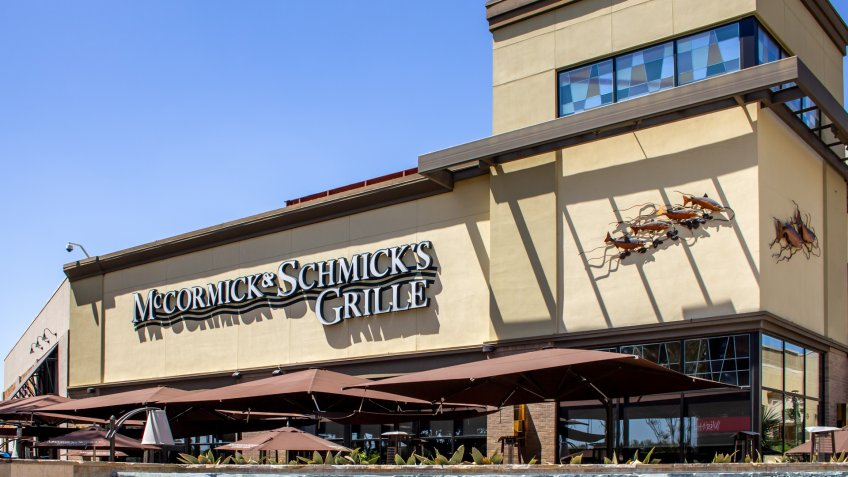 Anaheim, California/United States - 04/24/2019: Anaheim GardenWalk features a seafood restaurant known as McCormick and Schmick's Grille.