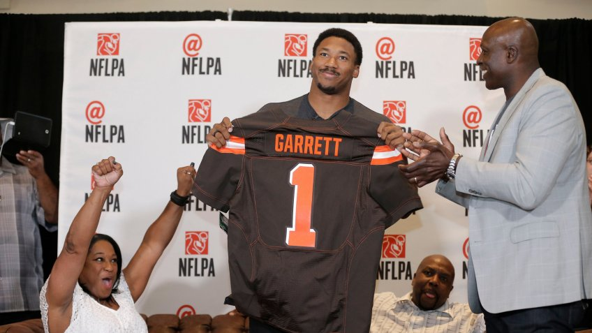 Mandatory Credit: Photo by AP/Shutterstock (8721295f)Myles Garrett, Audrey Garret, Lawrence Garrett, Bruce Smith IMAGE DISTRIBUTED FOR FOR NFLPA - Former No.