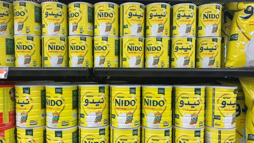KUWAIT CITY, KUWAIT - June 17, 2017 : Nestle NIDO products of powder milk are on store shelves also known as Nespray in Malaysia.