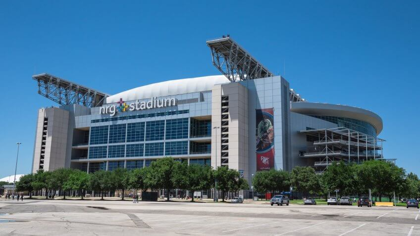 HOUSTON, TX-APR 4, 2017:Outside of NRG Stadium, the only rodeo and NFL indoor/outdoor retractable roof stadium that can be configured to utilize a 125,000 square foot space for exhibit, concert, event.