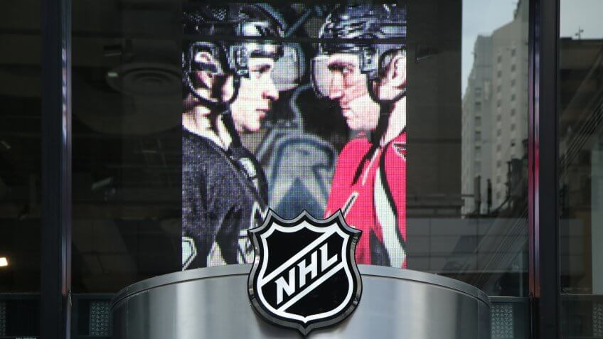 NEW YORK - MARCH 10, 2016: The NHL shop windows decoration in Manhattan.