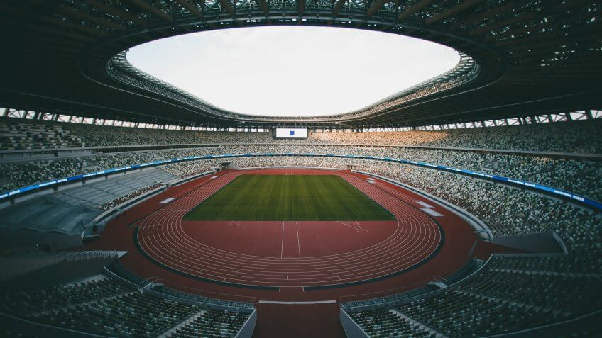 Mandatory Credit: Photo by Jae C Hong/AP/Shutterstock (10505937a)A general view of the new National Stadium is seen, in TokyoOlympics Stadium Debut, Tokyo, Japan - 15 Dec 2019.