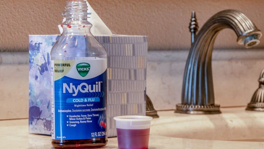 Laguna Hills, CA / USA - 01/25/2019: Vick's Nyquil Medicine for Cold and Flu.