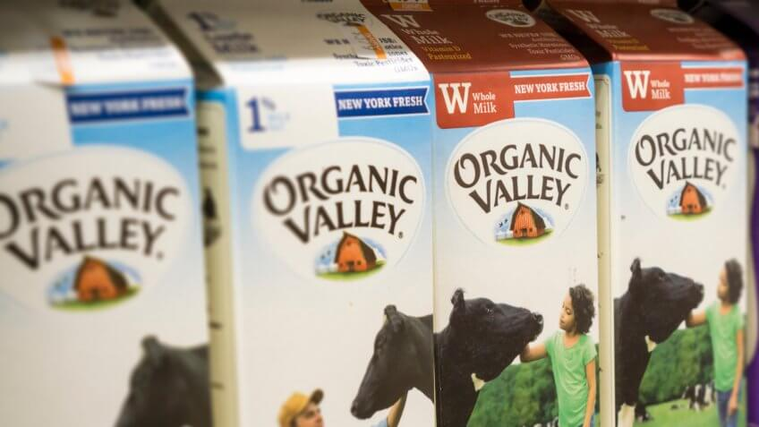 New York NY/USA-April 14, 2016 Containers of Organic Valley brand organic milk in a supermarket.
