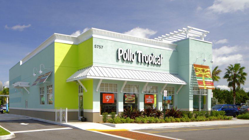 LAUDERHILL - OCTOBER 8: Image of Pollo Tropical which is a fast food restaurant specializing in Caribbean cuisine founded in 1988 in Kendall FL October 8, 2016 in Lauderhill FL, USA.
