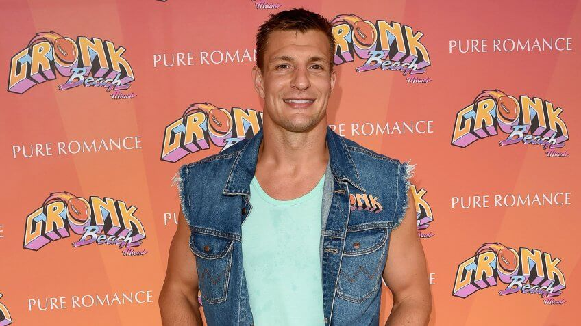 Rob Gronkowski at the Pure Romance pop-up at 'Gronk Beach Party' during the big game weekend.