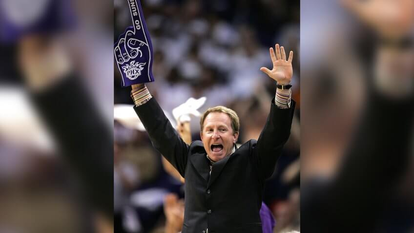 Mandatory Credit: Photo by Matt York/AP/Shutterstock (6380604a)SARVER Phoenix Suns owner Robert Sarver celebrates with his team during a Western Conference playoff game against the Memphis Grizzlies, in Phoenix.