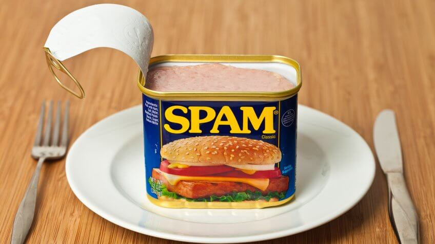 Richmond, Virginia, USA - May 23rd, 2013:  Opened Can Of SPAM On A Dinner Plate.