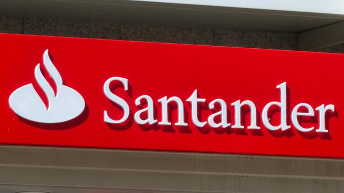 Dusseldorf, Germany - May 14, 2011: Logo at branch of Santander bank.