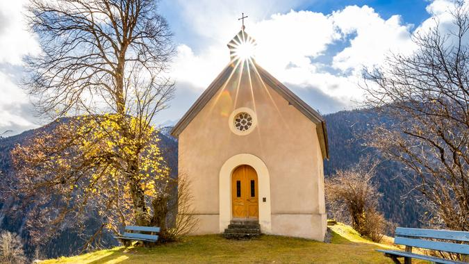Church in Alvaneu, Albula/Alvra, Switzerland