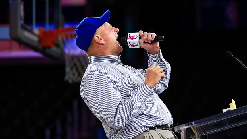 Mandatory Credit: Photo by Jae C Hong/AP/Shutterstock (6119672g)Steve Ballmer New Los Angeles Clippers owner Steve Ballmer, center, fires up the crowd as he speaks at the Clippers Fan Festival, in Los AngelesClippers Ballmer Basketball, LA, USA.