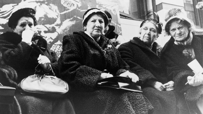 Survivors of the Triangle Shirtwaist Company fire at a commemoration ceremony organized by New York City and the International Ladies' Garment Workers' Union on the 50th anniversary of the fire, 1961.