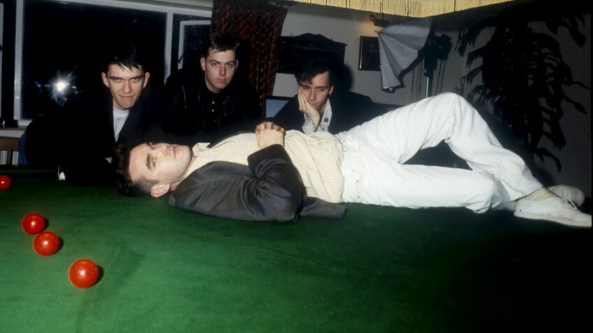Mandatory Credit: Photo by Andre Csillag/Shutterstock (446590c)MIKE JOYCE, ANDY ROURKE, JOHNNY MARR AND MORRISSEYTHE SMITHS - MAR 1987.