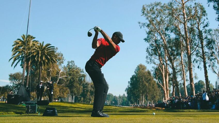 Tiger Woods tees off on the 12th hole during the final round of the Genesis Invitational golf tournament at Riviera Country Club, in the Pacific Palisades area of Los AngelesGenesis Invitational Golf, Los Angeles, USA - 16 Feb 2020.