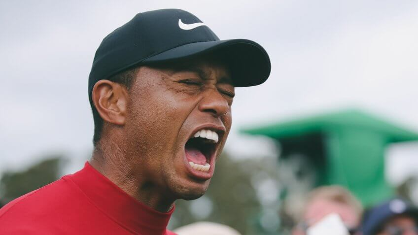 Tiger Woods celebrates winning the Masters and his 5th green jacketThe 2019 Masters Tournament, Augusta, USA - 14 Apr 2019.