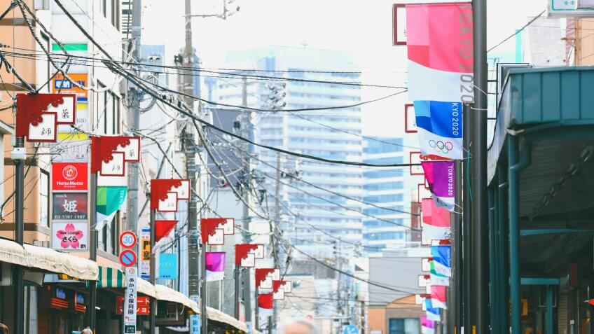 Mandatory Credit: Photo by Aflo/Shutterstock (10586655c)Olympic Banners of Tokyo 2020 are displayed on Araiyakushi shopping streetPreparations for Tokyo 2020, Tokyo, Japan - 17 Mar 2020.