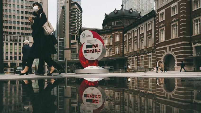 Mandatory Credit: Photo by Jae C Hong/AP/Shutterstock (10591011p)Countdown clock for the Tokyo 2020 Olympics is reflected in a puddle of water outside Tokyo Station in Tokyo, .
