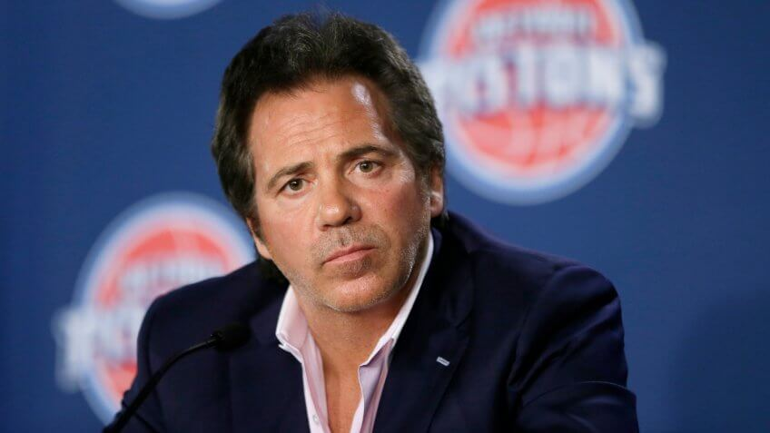Mandatory Credit: Photo by Carlos Osorio/AP/Shutterstock (5946775n)Tom Gores Tom Gores, Detroit Pistons team owner, addresses the media after introducing Stan Van Gundy as the Detroit Pistons newest head coach at the Palace in Auburn Hills, MichPistons Van Gundy Basketball, Auburn Hills, USA.