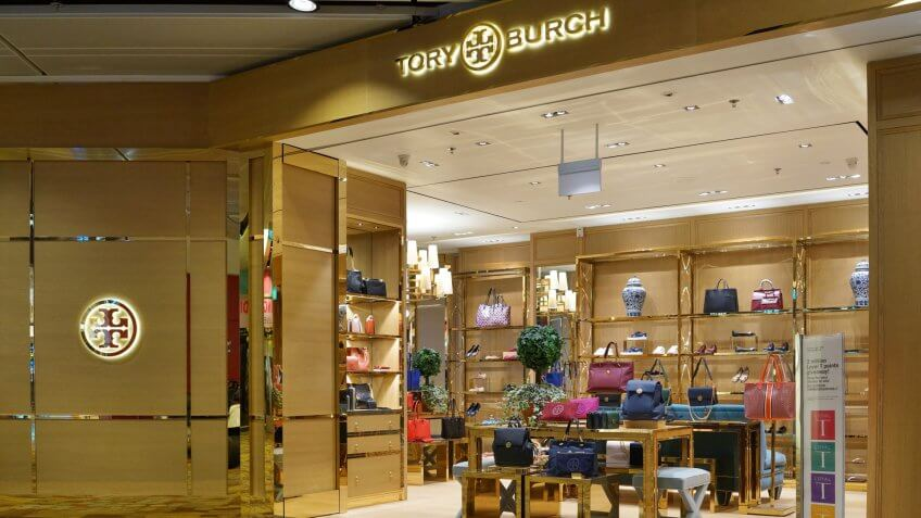 SINGAPORE - OCTOBER 4, 2017: The outer facade of the Tory Burch boutique in Changi Airport.