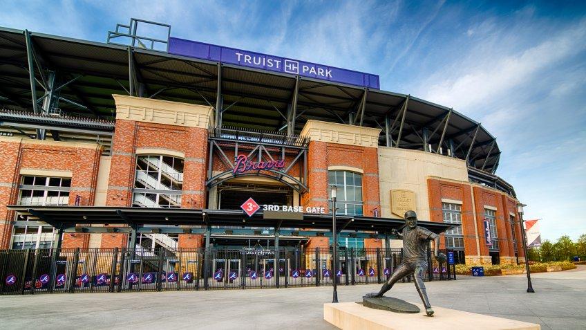 ATLANTA - MARCH 26: An entrance to Truist Stadium in Atlanta, Georgia, on March 26, 2020.