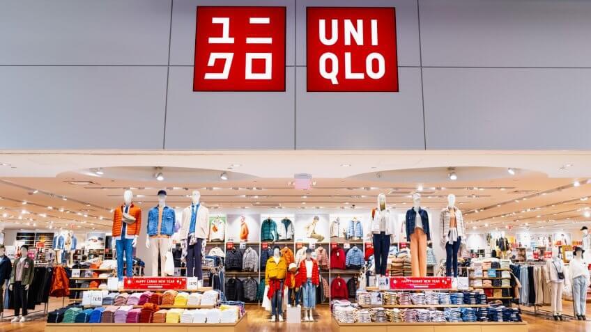 Jan 31, 2020 Milpitas / CA / USA - Uniqlo store in a South San Francisco Bay area mall; Uniqlo Co.