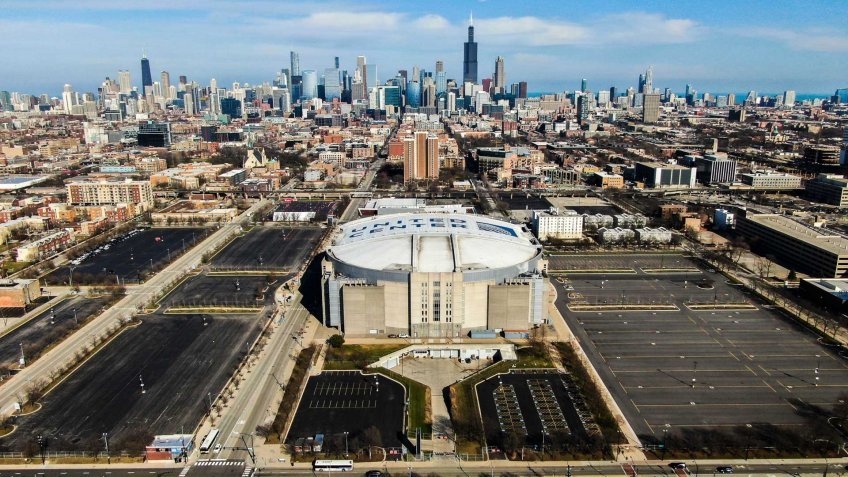 Mandatory Credit: Photo by TANNEN MAURY/EPA-EFE/Shutterstock (10593959c)A photo made with a drone shows the United Center which is home to the Chicago Bulls of the NBA and the Chicago Blackhawks of the NHL in Chicago, Illinois, USA, 25 March 2020.