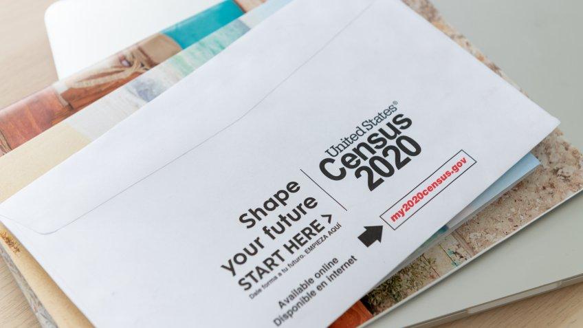 Seattle, WA, USA - Mar 25, 2020: United States Census 2020 Envelope with Logos.