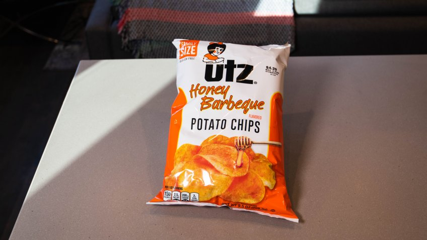 BOSTON, MASSACHUSETTS - MARCH 8, 2020: Utz Honey Barbecue Potato Chips with gluten free logo, safe for people with Celiac Disease and gluten allergies.