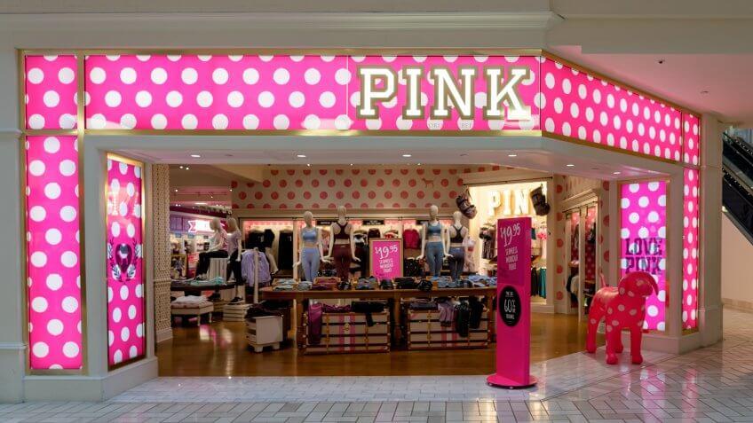 Tysons Corner, Virginia, USA- January 14, 2020: Victoria's Secret Pink storefront in Tysons Corner Center, Virginia, USA.